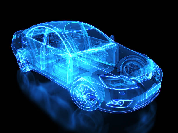 Neon anatomy of an automobile on black background Car X-ray / Blueprint - with clipping path concept car stock pictures, royalty-free photos & images