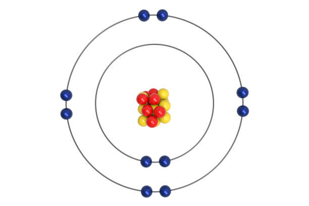 Neon Atom Bohr model with proton, neutron and electron stock photo