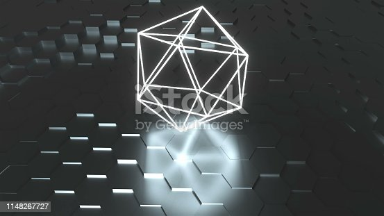 629533394 istock photo Neon atom symbol are on surface with reflection, futuristic 3d render background, icosahedron geometric shape 1148267727