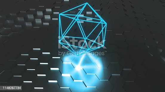 istock Neon atom symbol are on surface with reflection, futuristic 3d render background, icosahedron geometric shape 1148267734