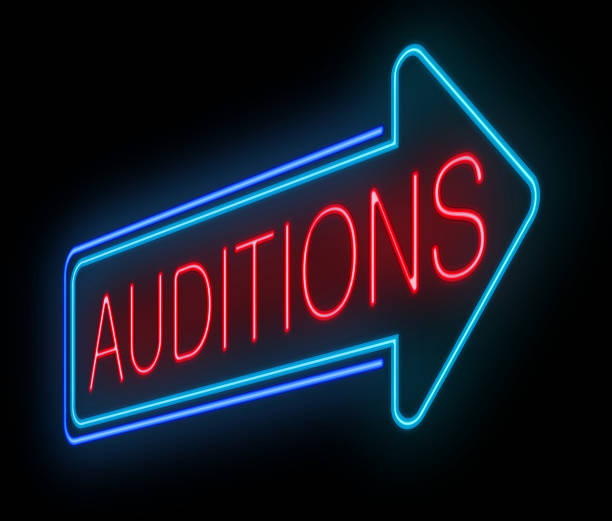 neon auditions sign. - audition stock photos and pictures