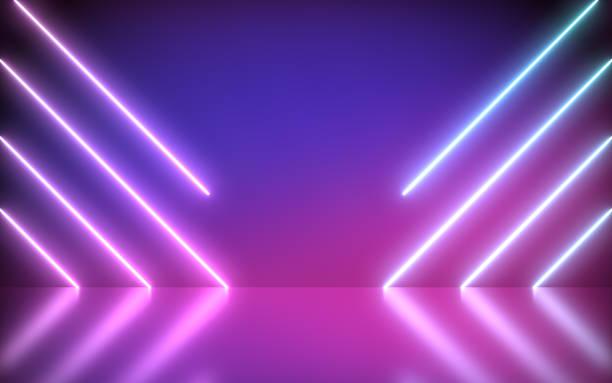 neon arka plan soyut mavi ve pembe işık şekilleri çizgi diyagonals ile. - havalı tutum stok fotoğraflar ve resimler