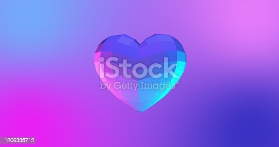 istock Neon background with glowing ultraviolet heart. For St. Valentines Day event. 3D rendering 1206335712