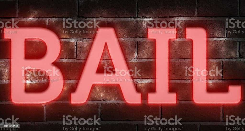 Neon bail sign stock photo