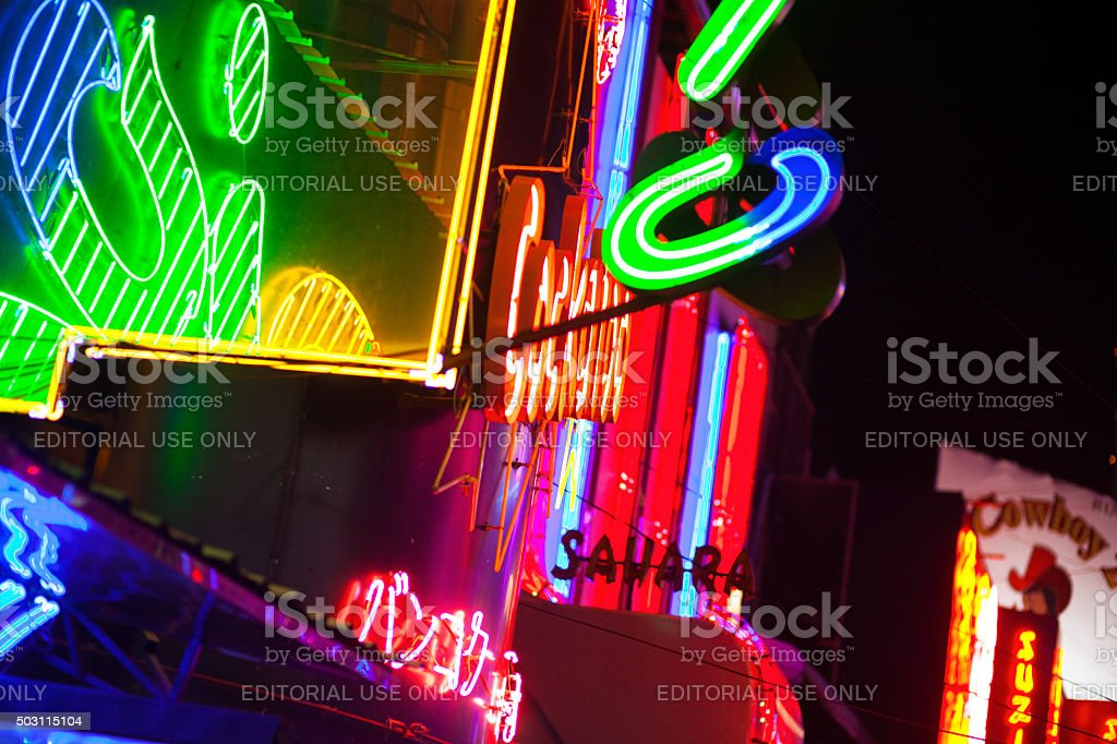 Neon banners and lights of Soi Cowboy stock photo