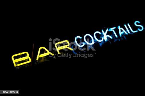 istock Neon bar cocktails 184618594