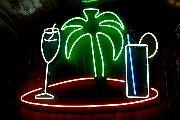 Neon Bar Sign stock photo