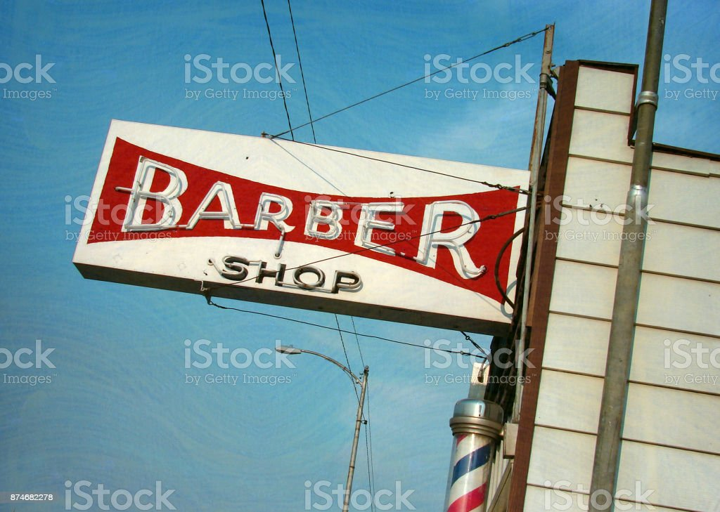neon barber shop sign stock photo