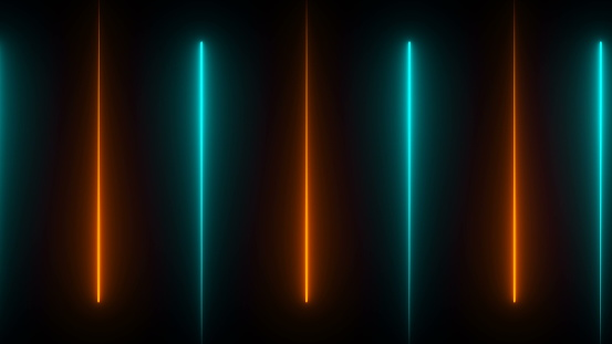Neon beams in darkness, modern neon technology, 3d computer generated background