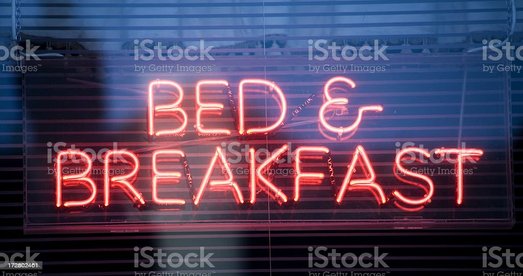 Neon bed and breakfast sign. royalty-free stock photo