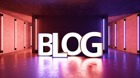 Neon Blog Sign. 3d Render