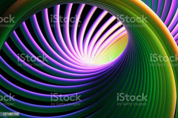 Neon Bright Spiral Stock Photo - Download Image Now
