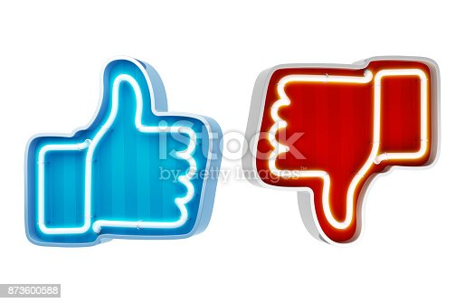 istock Neon button like and dislike on a white background. 3d render 873600588