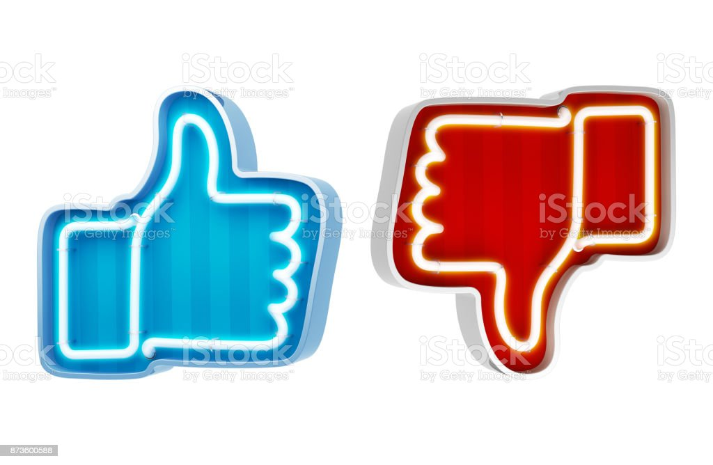 Neon button like and dislike on a white background. 3d render stock photo