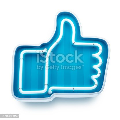 istock Neon button like on a white background. 3d render 873082352