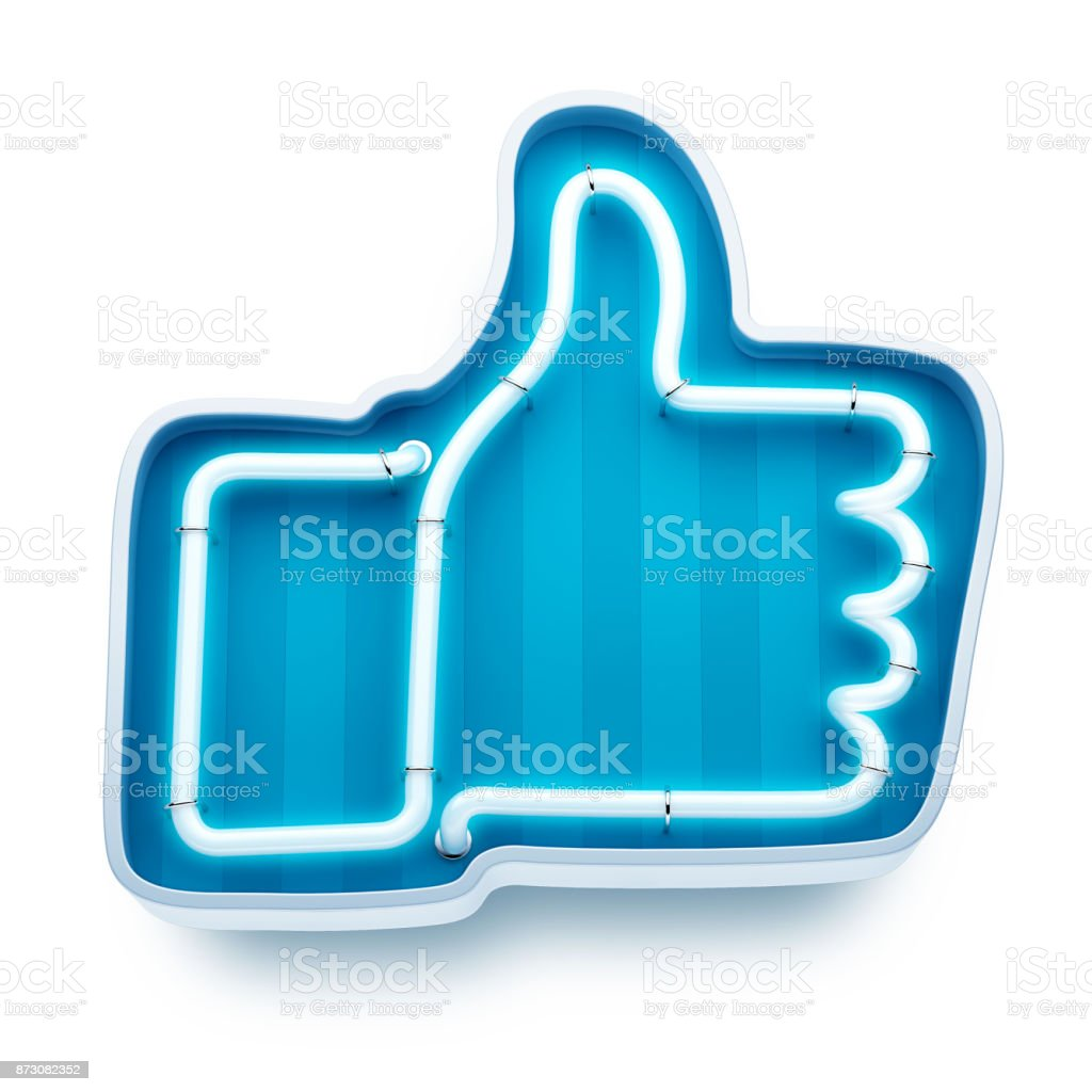 Neon button like on a white background. 3d render stock photo