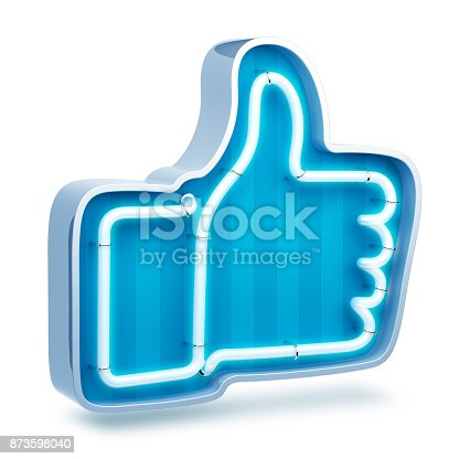 istock Neon button like on a white background. 3d render 873598040