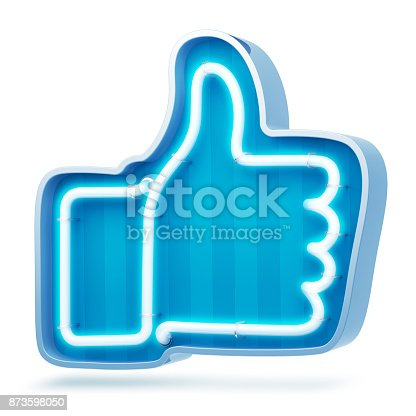 istock Neon button like on a white background. 3d render 873598050