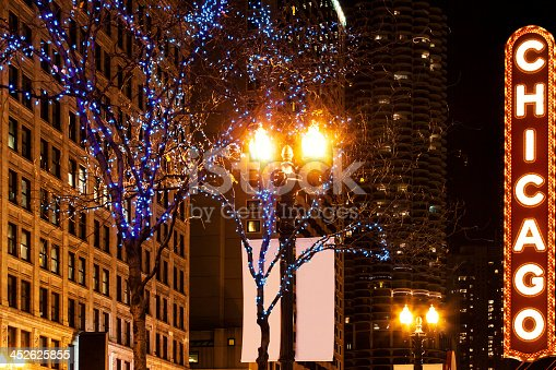 Photo of Chicago's Illuminated sign, at night. Buildings and trees with christmas ornaments.