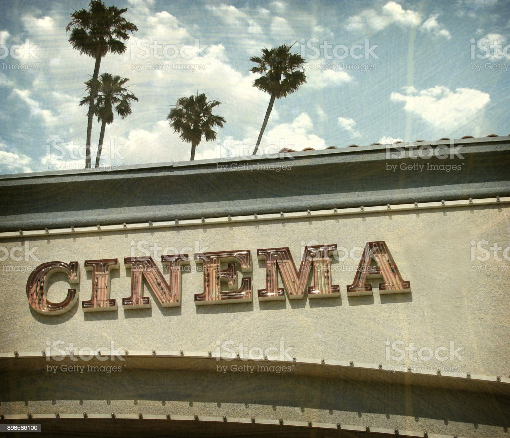 neon cinema sign stock photo