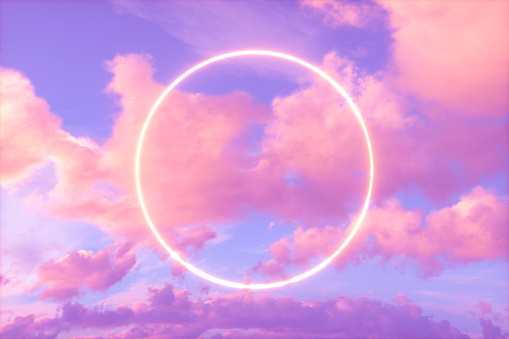 3d rendering, Neon Circle Frame in the Dramatic Sky, Futuristic Background.