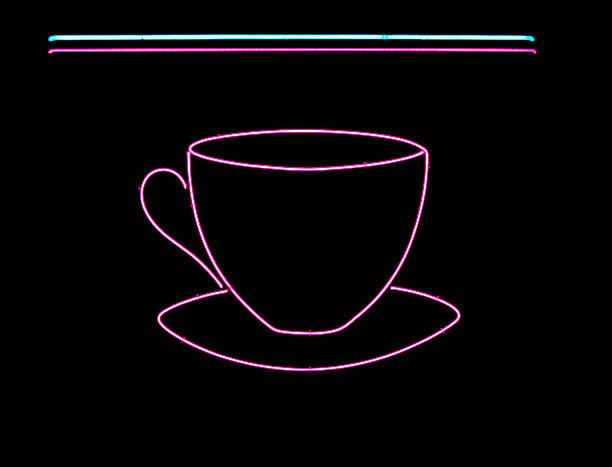 Neon coffee cup sign stok fotoğrafı