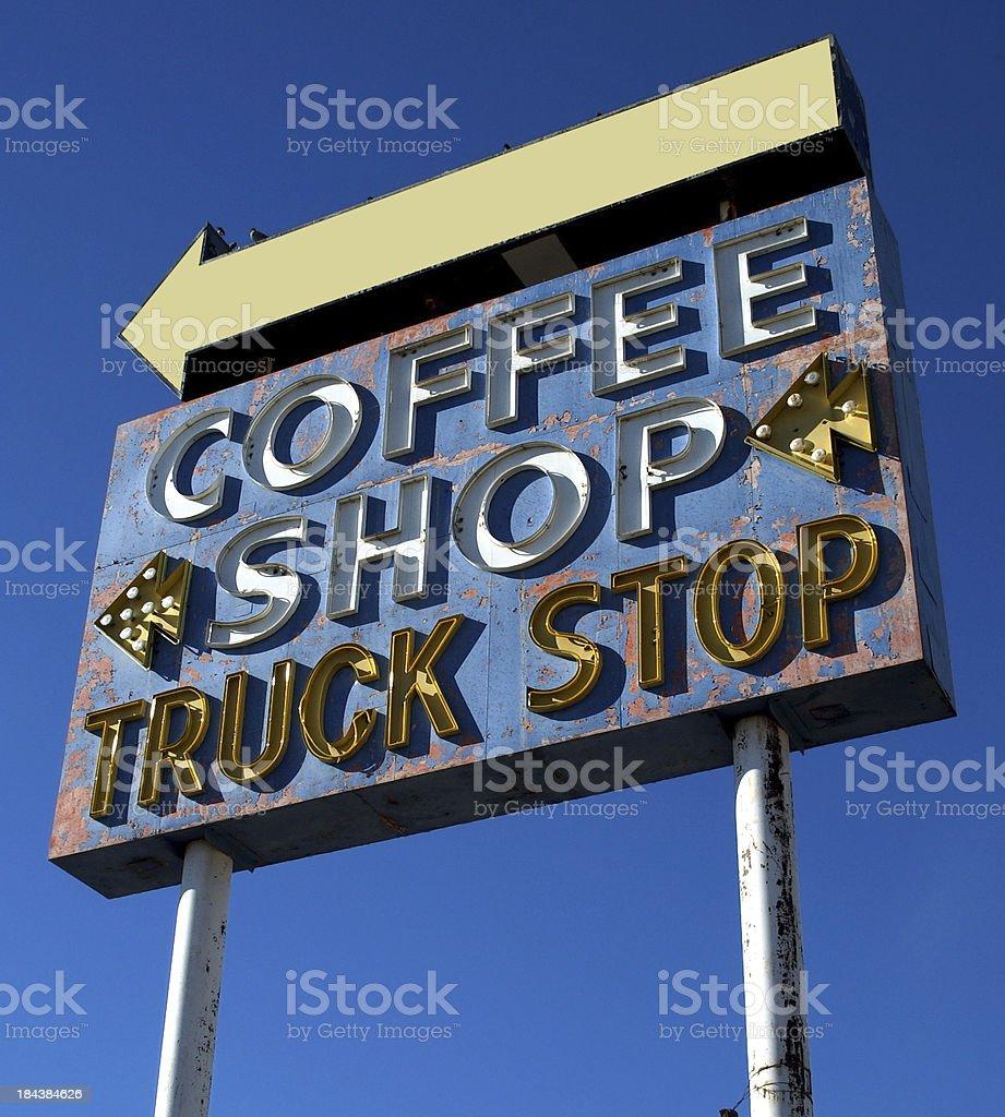 Neon Coffee Shop Sign Retro Art Deco Classic stock photo