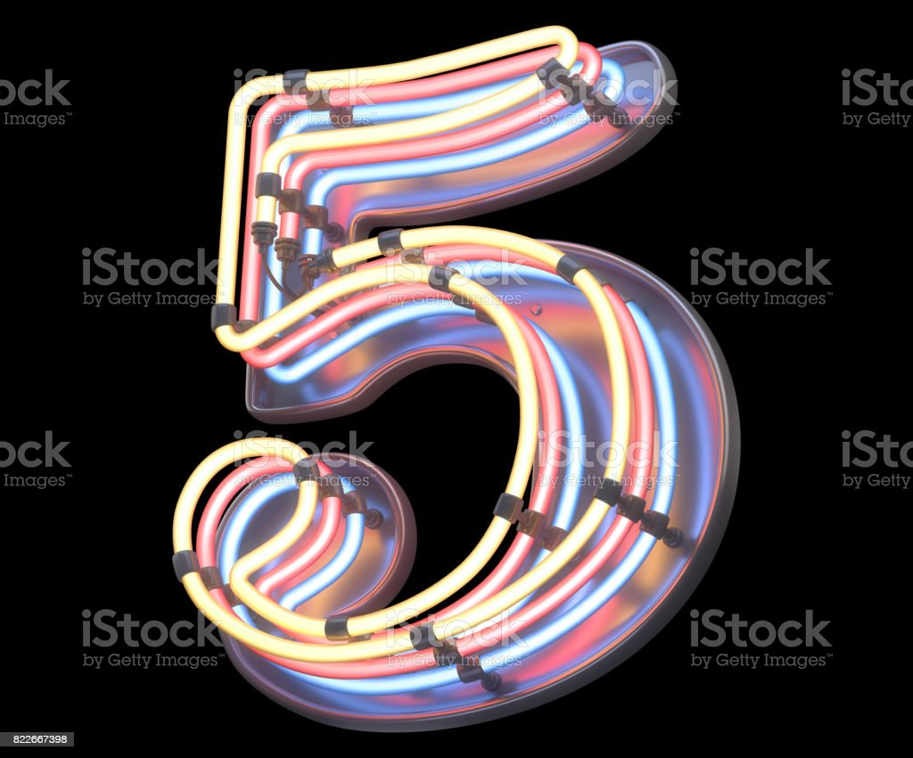 Neon colorful font. stock photo