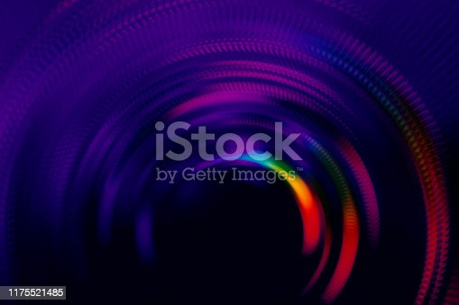 Neon Colorful Holographic Tunnel Concentric Ring Circle Black Glowing Striped Shiny Pattern Spinning Door Motion Speed Vitality Background Abstract Copy Space Ultra Violet Bright Multi Colored Texture Filter Distorted Macro Photography