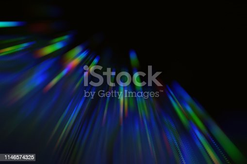 Neon Colorful Lines Black Background Bright Blue Green Red Stripe Pattern Computer Graphic Copy Space