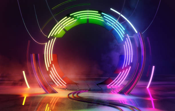 Neon Colorful Loops Empty Stage Lights Background stock photo