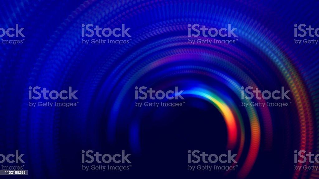 Neon bunte Tunnel abstrakte Geschwindigkeit verschwommene Bewegung lange Belichtung Wirbel Spiralkreis Welle Muster - Lizenzfrei Abstrakt Stock-Foto