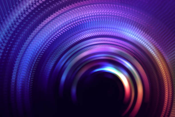 neon colorful tunnel door abstract speed blurred motion rotor long exposure swirl spiral circle wave pattern - onda radio foto e immagini stock