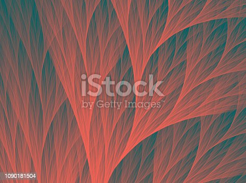 istock Neon Coral Pattern on Dark Teal Blue Background Abstract Reef Trendy Color of the Year 2019 Fractal Fine Art 1090181504