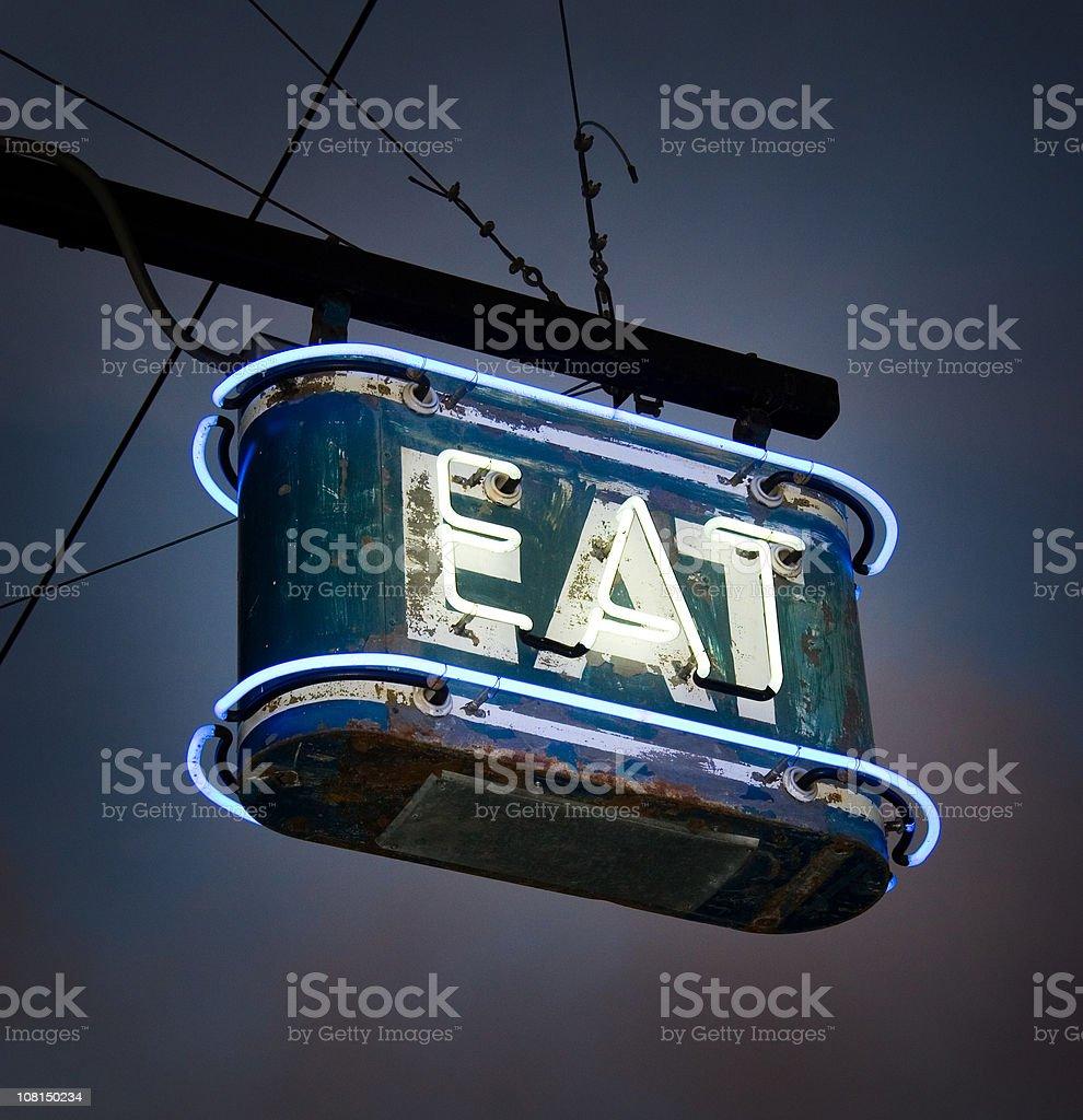 Neon EAT Sign stock photo