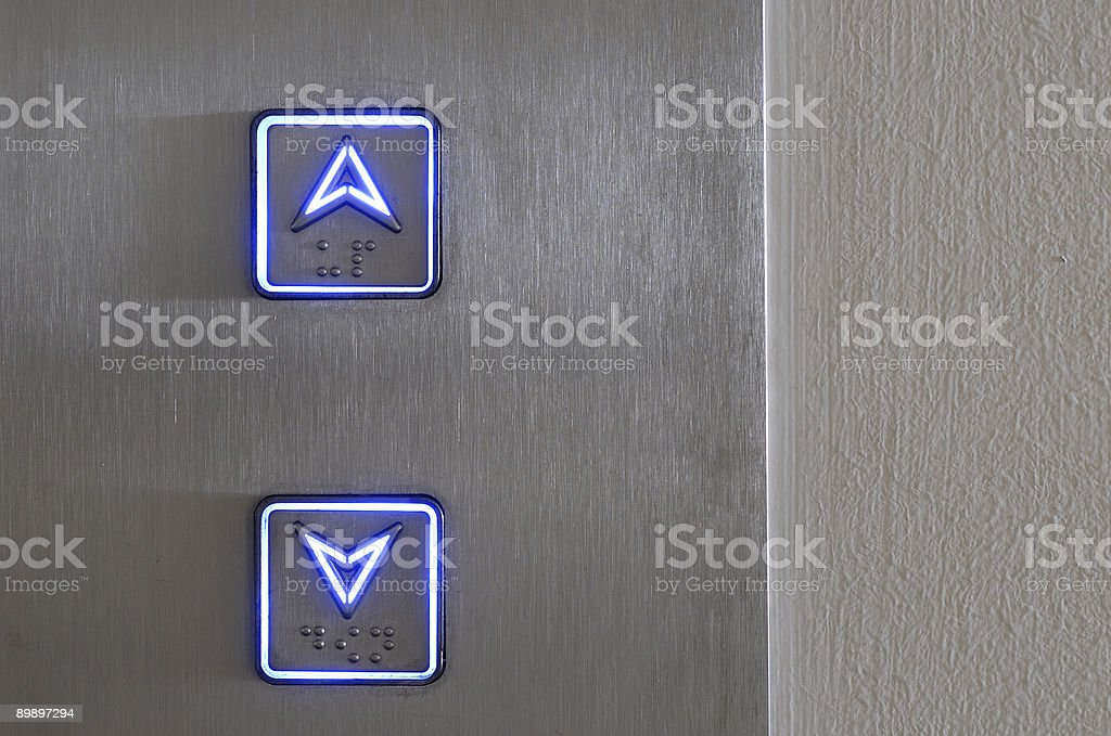 Neon elevator controls royalty-free stock photo