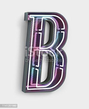 istock Neon Font. Letter B 1141251560