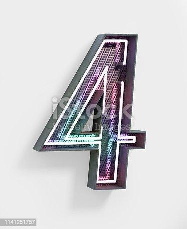 istock Neon Font. Number 4 1141251757