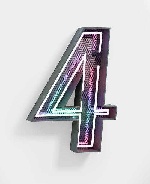Neon Font. Number 4 Neon Font with fluorescent color pattern. Number 4. Night Show Alphabet. 3d Rendering Isolated. number 4 stock pictures, royalty-free photos & images