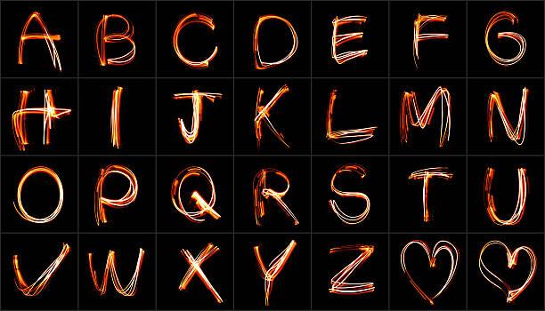 Neon Font stock photo