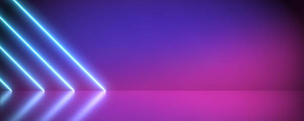 neon futurystyczny abstrakcyjny niebieski i fioletowy jasny kształty linii przekątnych na kolorowym tle i odblaskowym betonie z pustą przestrzenią. - neon zdjęcia i obrazy z banku zdjęć