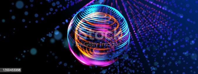 827387052 istock photo Neon globe star orbit shiny light. 3D orbit light line cyber digital world, technology IOT world concept. 1200453358