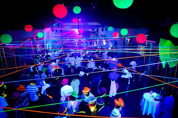 Neon Glow Blacklight Disco Party Night stock photo
