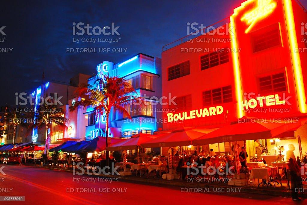 Neon Glow on Ocean Boulevard in Miami Beach stock photo
