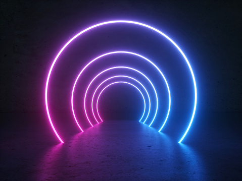 Abstract Gradient Blue Purple Pink Neon Glowing Circle Round Shape Tubes On Reflection Concrete Floor Dark. 3D Rendering Illustration. Sci-Fi Futuristic