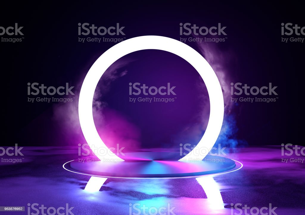 Neon Glowing Loop Stage And Lighting stock photo