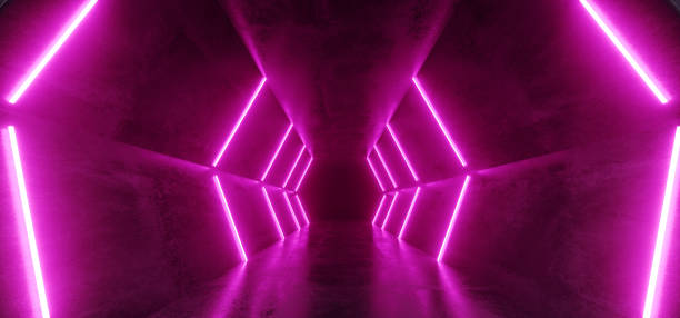 neon glowing retro futuristic sci fi dance fluorescent luxurious luminous lines pink purple lights in empty dark stage aliridor corridor tunnel grunge concrete 3d rendering - rosa lampe stock-fotos und bilder