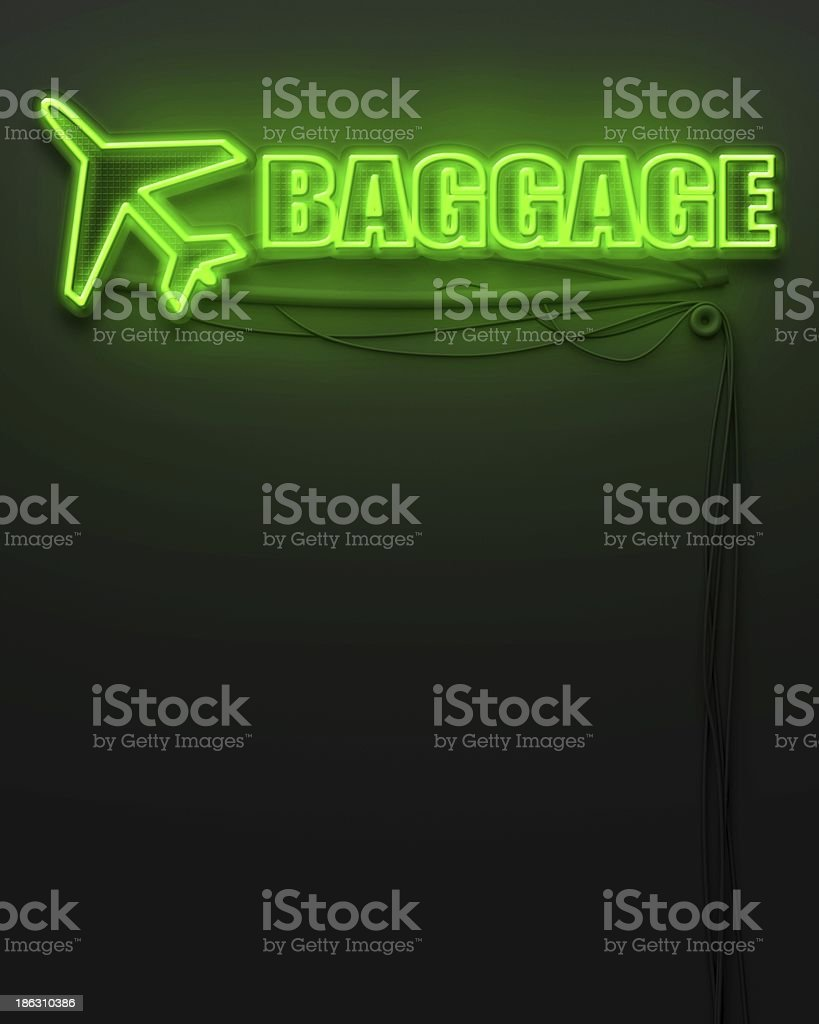 Neon glowing sign with word Baggage, copyspace royalty-free stock photo