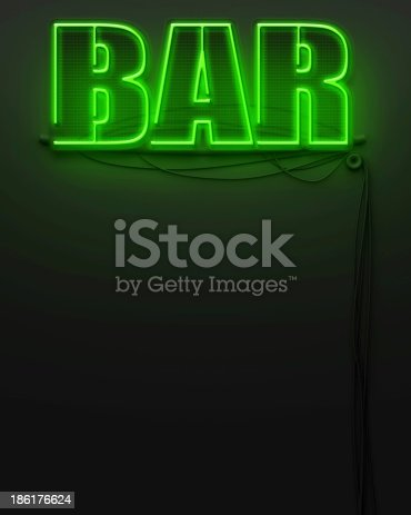 1056445350 istock photo Neon glowing sign with word Bar, copyspace 186176624