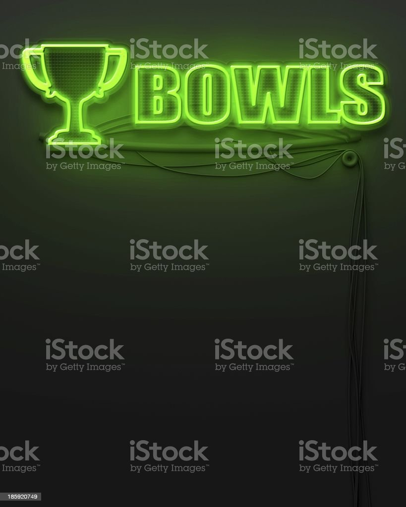 Neon glowing sign with word Bowls, copyspace royalty-free stock photo